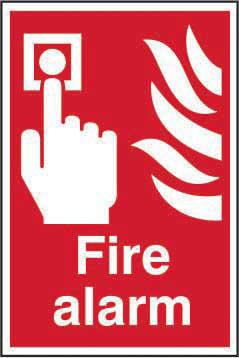 Fire Alarm sign (200 x 300mm). Manufactured from strong rigid PVC and is non-adhesive; 0.8mm thick.
