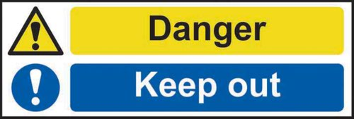 Danger Keep Out' Sign; Self-Adhesive Vinyl (300mm x 100mm)