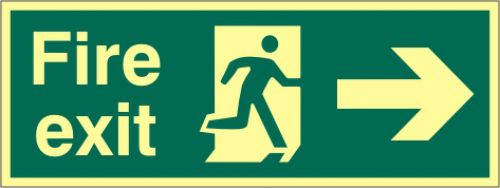 Fire Exit Sign with running man and arrow right (400 x 150mm). Made from 1.3mm rigid photoluminescent board (PHO) and is self adhesive.