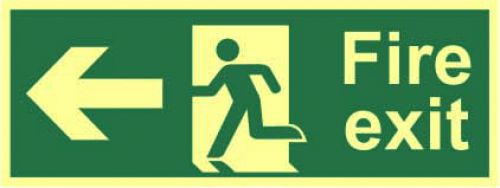 Fire Exit Sign with running man and arrow left (400 x 150mm). Made from 1.3mm rigid photoluminescent board (PHO) and is self adhesive.