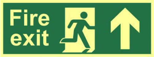 Fire Exit Sign with running man and arrow up (400 x 150mm). Made from 1.3mm rigid photoluminescent board (PHO) and is self adhesive.