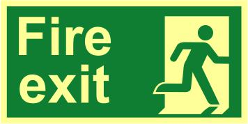 Fire Exit Man Right sign (300 x 150mm). Made from 1.3mm rigid photoluminescent board (PHO) and is self adhesive.