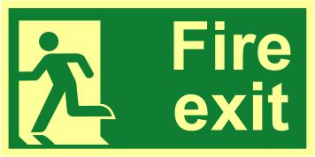 Fire Exit Man Left sign (300 x 150mm). Made from 1.3mm rigid photoluminescent board (PHO) and is self adhesive.