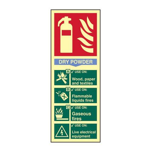 Fire Extinguisher Dry Powder' Sign; 1.3mm Rigid Self Adhesive Photoluminescent (82mm x 202mm)