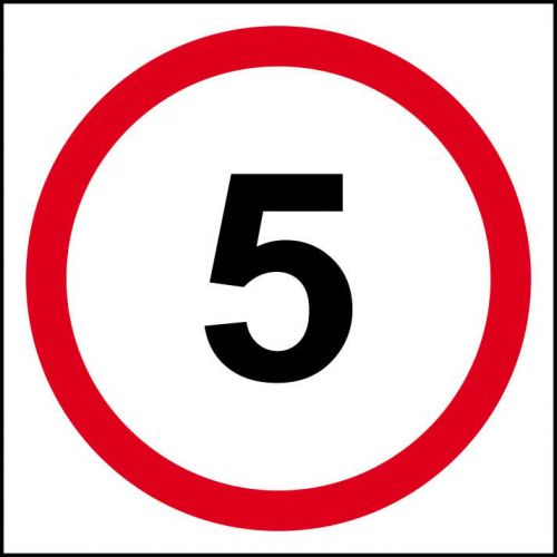 5MPH Speed Limit Sign (400 x 400mm). Manufactured from strong rigid PVC and is non-adhesive, 0.8mm thick.