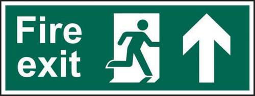 Fire Exit (Man Arrow Up)' Sign; Self-Adhesive Vinyl (300mm x 100mm)