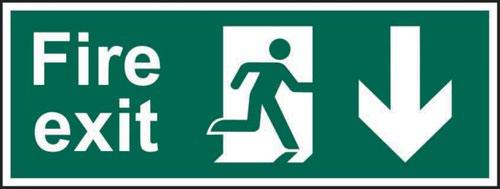 Fire Exit (Man Arrow Down)' Sign; Self-Adhesive Vinyl (300mm x 100mm)