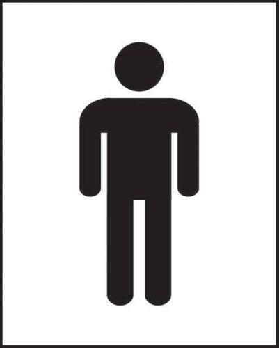 Male Symbol' Sign; Self-Adhesive Vinyl (200mm x 250mm)