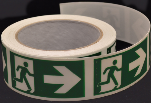 PSPA Class B Photoluminescent Man Arrow Right Tape 40mm x 10m for way-finding in dark
