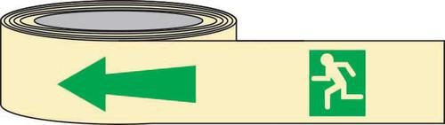 PSPA Class B Photoluminescent Man Arrow Left Tape 40mm x 10m for way-finding in dark