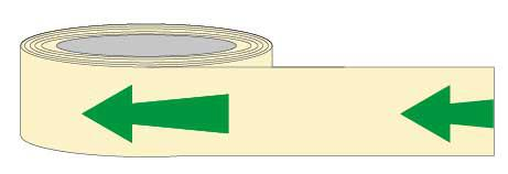 PSPA Class B Photoluminescent Arrow Tape 40mm x 10m for way-finding in dark