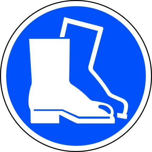 Foot Protection Symbol Floor Graphic adheres to most smooth; clean flat surfaces and provides a durable long lasting safety message. 400mm diameter.
