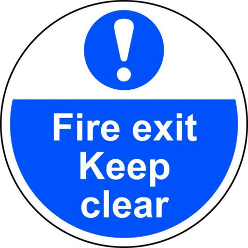 Fire Exit Keep Clear Floor Graphic adheres to most smooth; clean flat surfaces and provides a durable long lasting safety message. 400mm diameter.