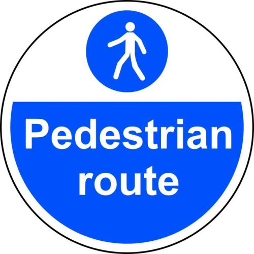 Pedestrian Route Floor Graphic adheres to most smooth, clean flat surfaces and provides a durable long lasting safety message. 400mm diameter.
