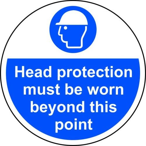 Head Protection Must Be Worn Floor Graphic adheres to most smooth; clean flat surfaces and provides a durable long lasting safety message. 400mm dia.