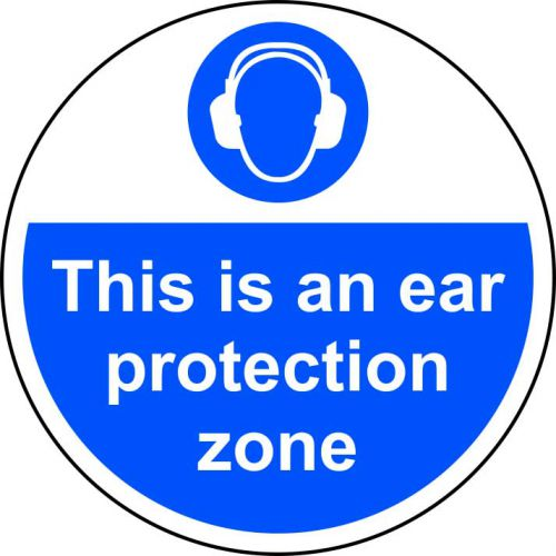 This Is An Ear Protection Zone Floor Graphic adheres to most smooth; clean flat surfaces & provides a durable long lasting safety message. 400mm dia.