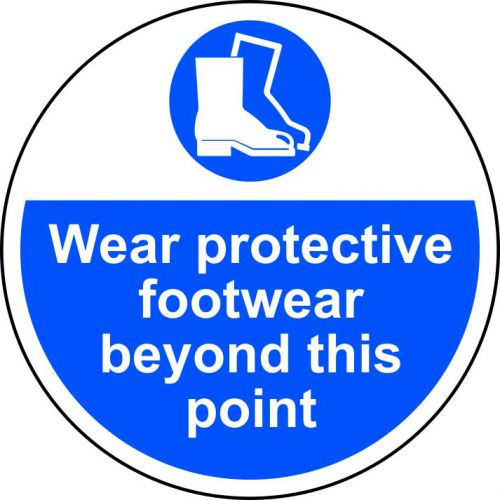 Wear Protective Footwear Floor Graphic adheres to most smooth; clean flat surfaces and provides a durable long lasting safety message. 400mm diameter.