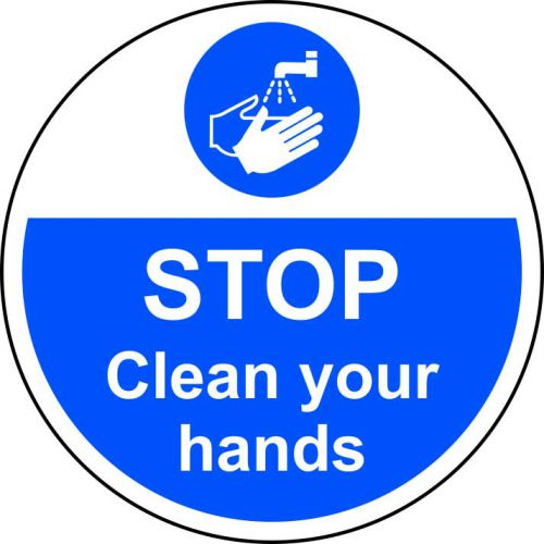 Stop Clean Your Hands Floor Graphic adheres to most smooth; clean flat surfaces and provides a durable long lasting safety message. 400mm diameter.