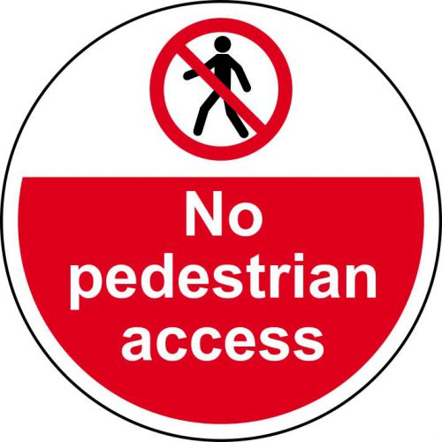 No pedestrian Access Floor Graphic adheres to most smooth; clean flat surfaces and provides a durable long lasting safety message. 400mm diameter.