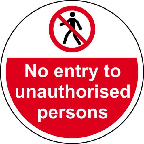 No Entry To Unauthorised Persons Floor Graphic adheres to most smooth; clean flat surfaces. Provides a durable long lasting safety message. 400mm dia.