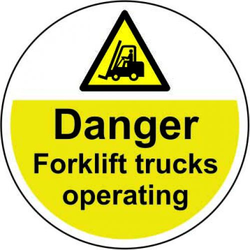 Danger Forklift Trucks Operating Floor Graphic adheres to most smooth; clean flat surfaces. Provides a durable long lasting safety message. 400mm dia.
