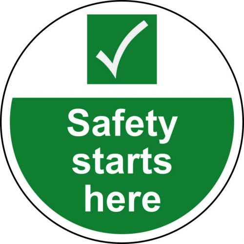 Safety Starts Here Floor Graphic adheres to most smooth; clean flat surfaces and provides a durable long lasting safety message. 400mm diameter.