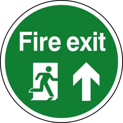 Fire Exit Running Man Floor Graphic adheres to most smooth; clean flat surfaces and provides a durable long lasting safety message. 400mm diameter.