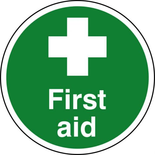 First Aid Floor Graphic adheres to most smooth; clean flat surfaces and provides a durable long lasting safety message. 400mm diameter.
