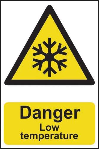 'Danger Low Temperature' Sign; Self-Adhesive Semi-Rigid PVC (200mm x 300mm)