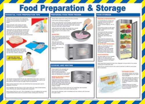 Food Preparation & Storage' Sign; Laminated Paper; Safety Poster (590mm x 420mm)