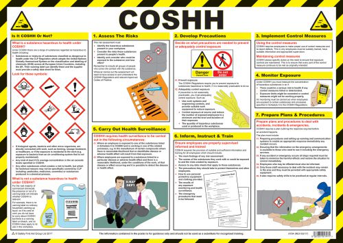 COSHH Safety Poster (590 x 420mm) made from laminated paper.
