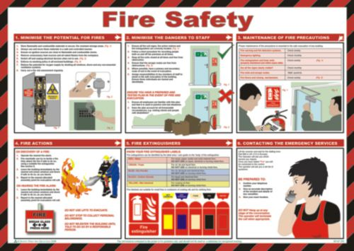 Safety Poster - Fire Safety (590 x 420mm) made from laminated paper.