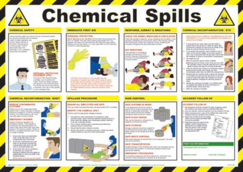 Safety Poster - Chemical Spills (590 x 420mm) made from laminated paper.