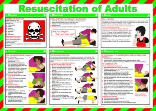 Resuscitation of Adults Safety Poster (590 x 420mm) made from laminated paper.