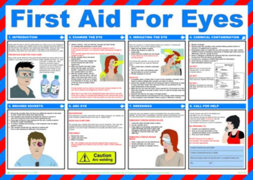 First Aid For Eyes Safety Poster (590 x 420mm) made from laminated paper.