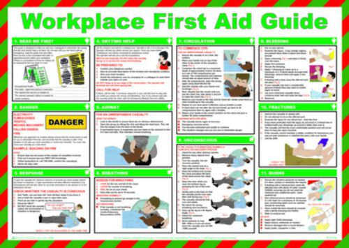 Workplace First Aid Guide Safety Poster (590 x 420mm) made from laminated paper.