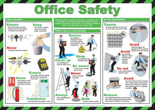 Safety Poster - Office Safety (590 x 420mm) made from laminated paper.