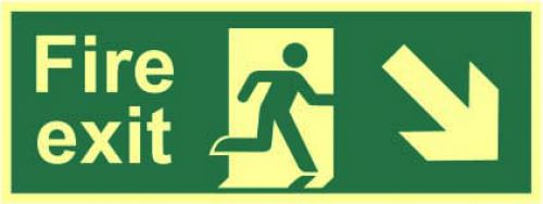 Fire Exit Sign with running man and arrow down right (400 x 150mm). Made from 1.3mm rigid photoluminescent board (PHO) and is self adhesive.