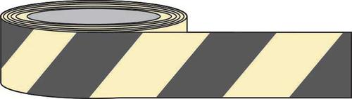 PSPA Class B Photoluminescent Black Chevron Tape 80mm x 10m for way-finding in dark