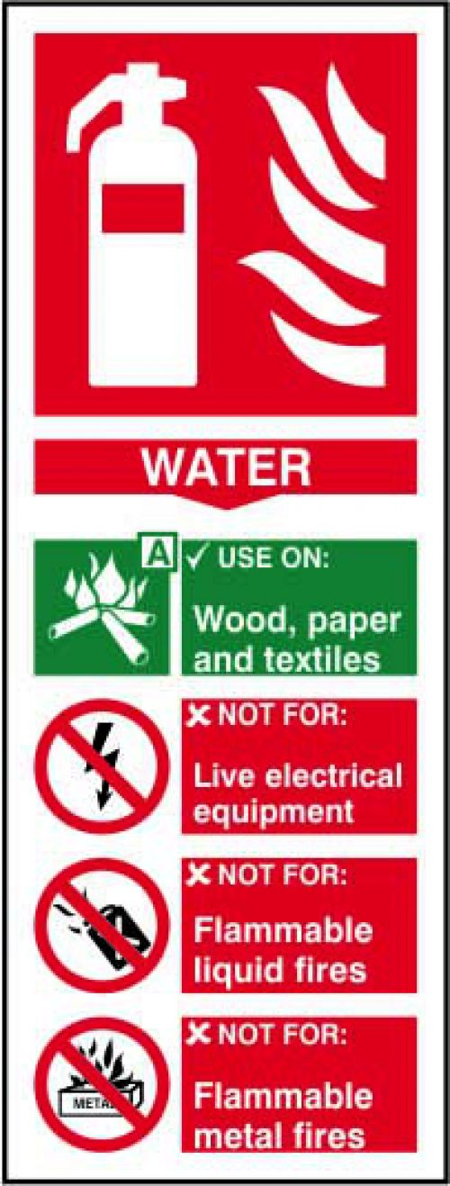 Self adhesive semi-rigid PVC Fire Extinguisher Water Sign (75 x 200mm). Easy to fix; simply peel off the backing and apply to a clean dry surface.