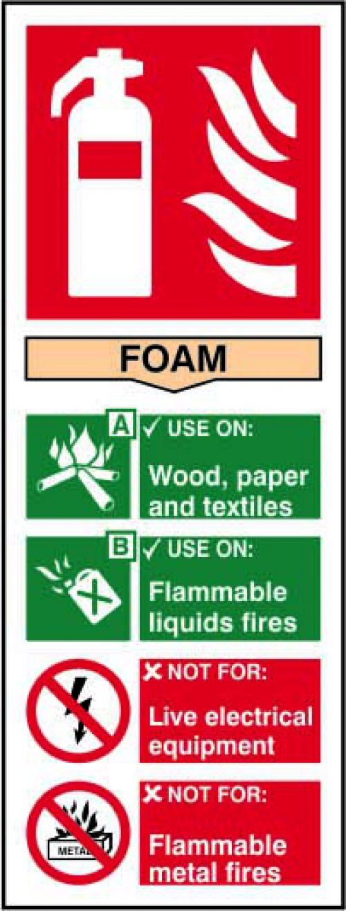 Self adhesive semi-rigid PVC Fire Extinguisher Foam Sign (75x200mm). Easy to fix; simply peel off the backing and apply to a clean dry surface.