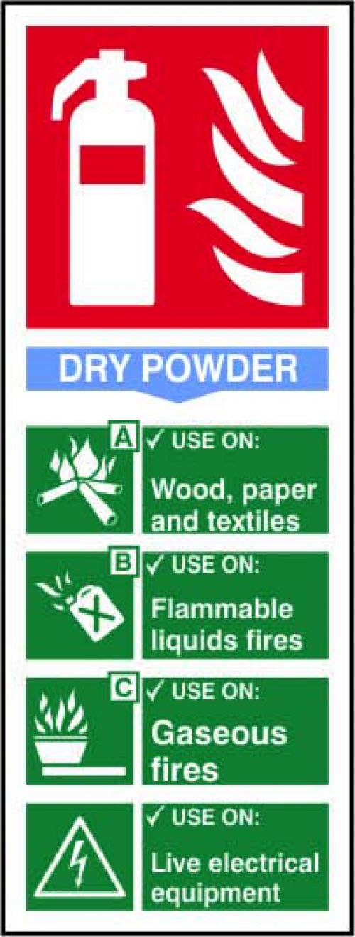 Self adhesive semi-rigid PVC Fire Extinguisher Composite Dry Powder Sign (75x200mm). Easy to fix; peel off the backing and apply to clean dry surface.