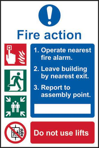 Self-Adhesive Vinyl Fire Action Procedure sign (200 x 300mm). Easy to use and fix.