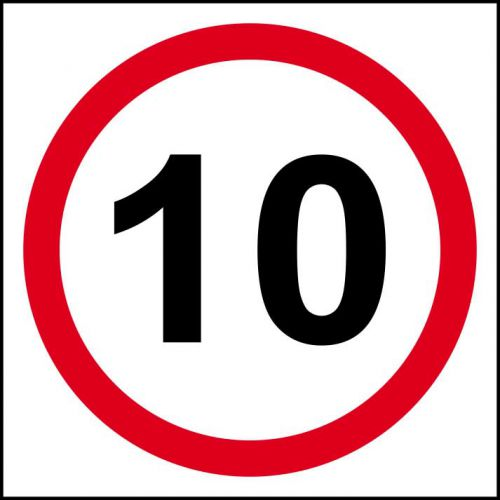 10MPH Speed Limit Sign (400 x 400mm). Manufactured from strong rigid PVC and is non-adhesive, 0.8mm thick.