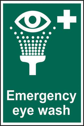 Emergency Eyewash sign (200 x 300mm). Manufactured from strong rigid PVC and is non-adhesive; 0.8mm thick.