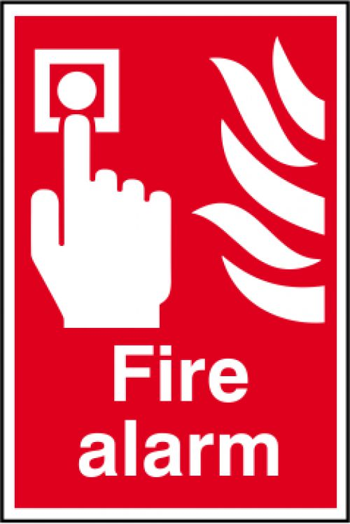 Self adhesive semi-rigid PVC Fire Alarm Sign (200 x 300mm). Easy to fix; simply peel off the backing and apply to a clean dry surface.