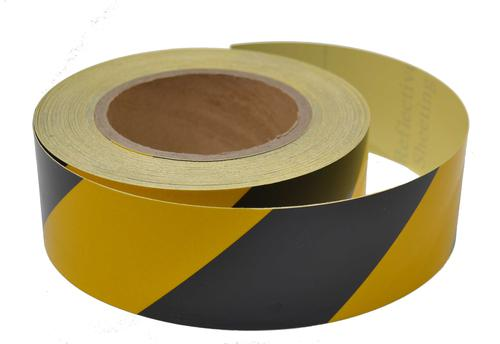 Engineering grade reflective tape black/yellow 50mm x 25m
