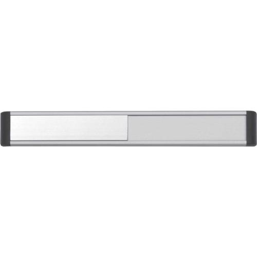 Door Slider System; Silver Anodised With Black End Caps & Black Text (220mm x 30mm)