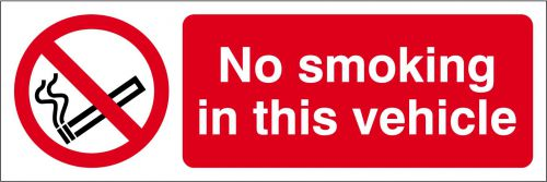 Self-adhesive vinyl No Smoking In This Vehicle sign (150 x 50mm). Easy to use; simply peel off the backing and apply to a clean dry surface.