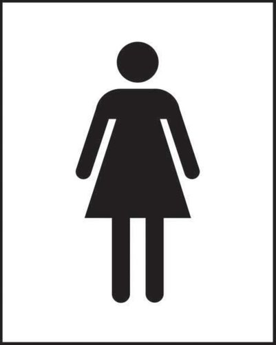 Female Symbol' Sign; Non-Adhesive Rigid 1mm PVC Board; (125mm x 200mm)